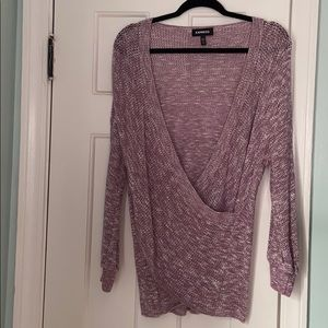 Express Purple Marled Wrap Front Sweater